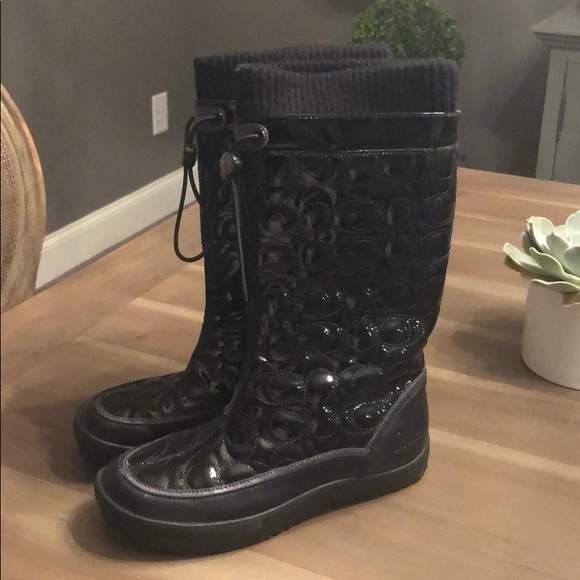 Coach patent snow boots